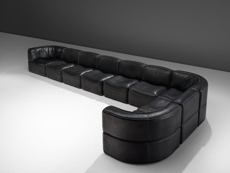 De Sede 'DS-15' Modular Sofa in Black Leather In Good Condition For Sale In Waalwijk, NL
