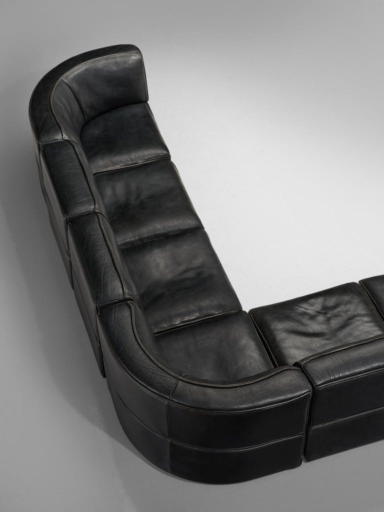 Late 20th Century De Sede 'DS-15' Modular Sofa in Black Leather For Sale
