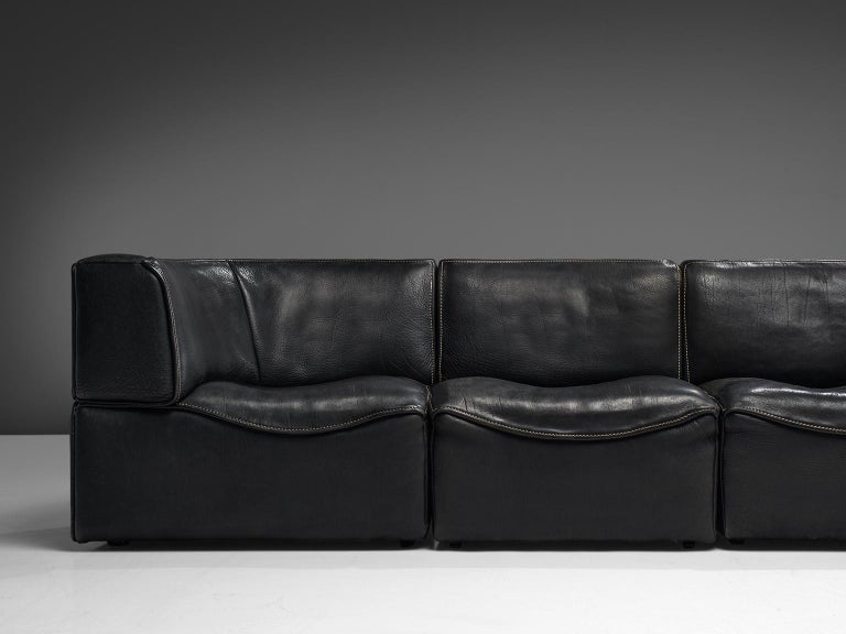 De Sede 'DS-15' Modular Sofa in Black Leather For Sale 1