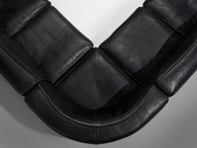 De Sede 'DS-15' Modular Sofa in Black Leather For Sale 3