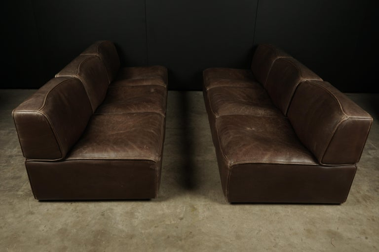 Late 20th Century Vintage De Sede 'Ds-15' Modular Sofa in Brown Buffalo Leather from Switzerland For Sale