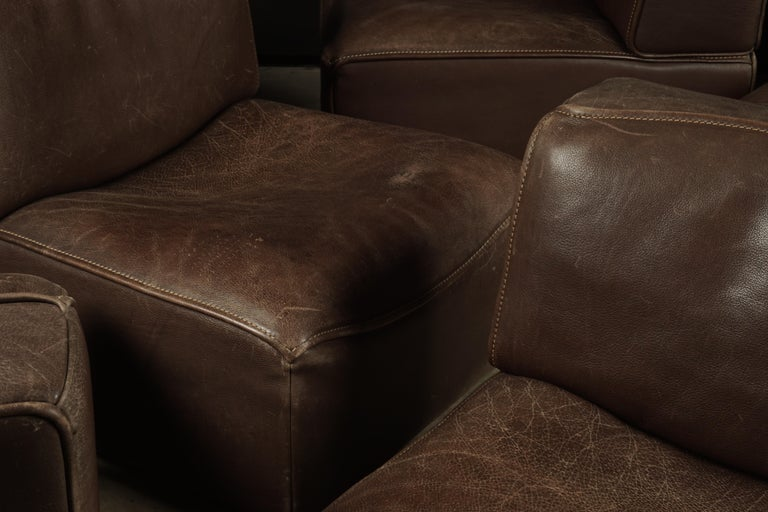 Vintage De Sede 'Ds-15' Modular Sofa in Brown Buffalo Leather from Switzerland For Sale 2