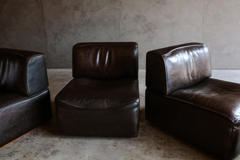 De Sede 'Ds-15' Modular Sofa in Buffalo Leather From Switzerland, 1970s In Good Condition For Sale In Nashville, TN