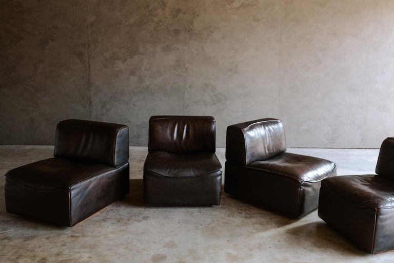 Late 20th Century De Sede 'Ds-15' Modular Sofa in Buffalo Leather From Switzerland, 1970s For Sale