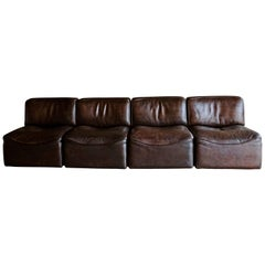 De Sede 'Ds-15' Modular Sofa in Buffalo Leather From Switzerland, 1970s