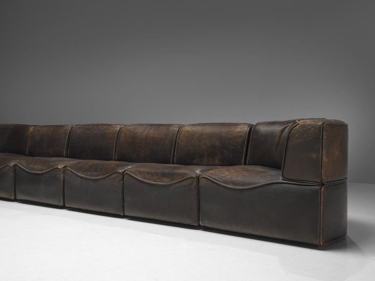 Mid-Century Modern De Sede DS-15 Patinated Deep Brown Sectional Sofa