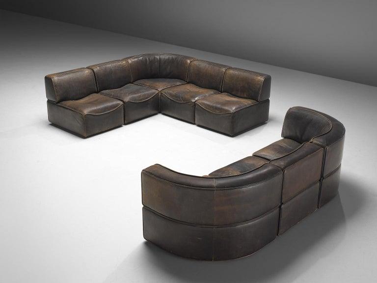 Swiss De Sede DS-15 Patinated Deep Brown Sectional Sofa