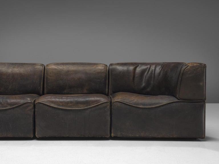 De Sede DS-15 Patinated Deep Brown Sectional Sofa In Good Condition In Waalwijk, NL