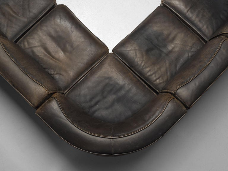 Leather De Sede DS-15 Patinated Deep Brown Sectional Sofa