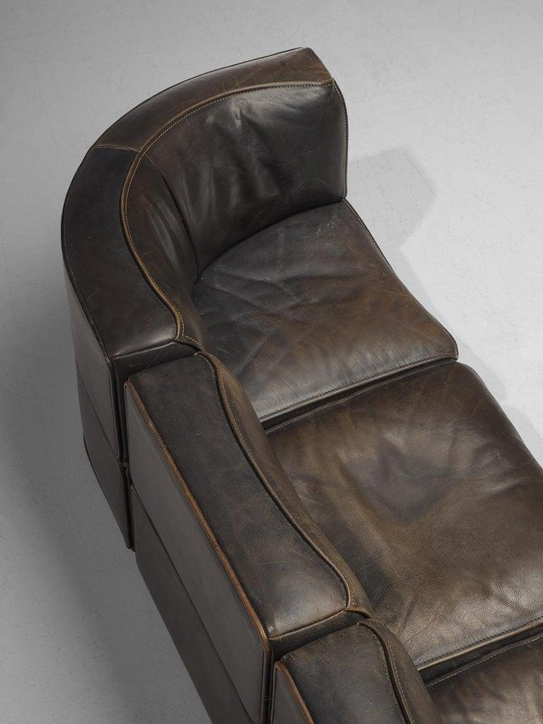 De Sede DS-15 Patinated Deep Brown Sectional Sofa 1