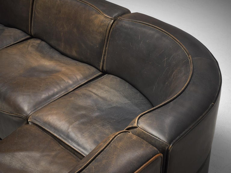 De Sede DS-15 Patinated Deep Brown Sectional Sofa 2