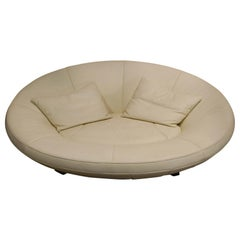 De Sede DS 152 Oval White Leather Sofa by Jane Worthington for De Sede