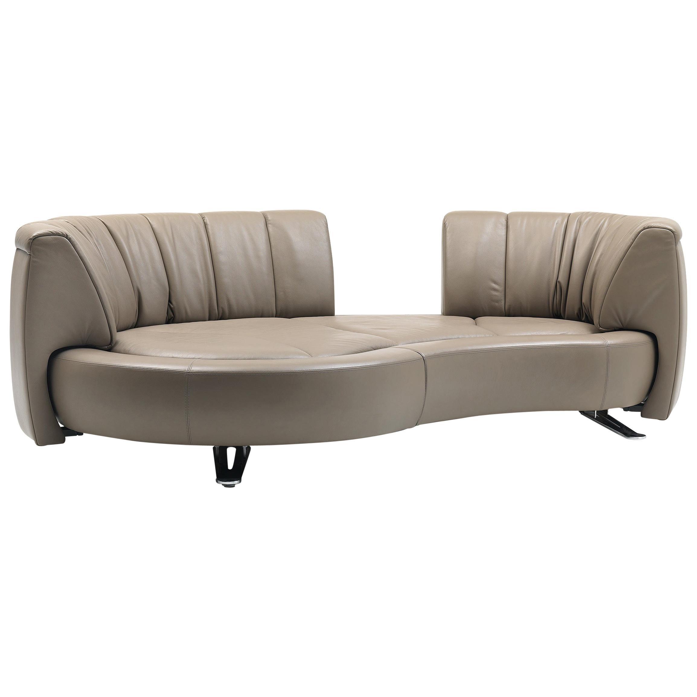 De Sede DS-164 Left Sofa Bed in Schiefer Brown Upholstery by Hugo de Ruiter