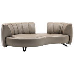 De Sede DS-164 Left Sofa Bed in Schiefer Brown Upholstery by Hugo de Ruiter