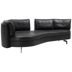 De Sede DS-167 Sofa with Movable Backrest in Black Upholstery by Hugo de Ruiter