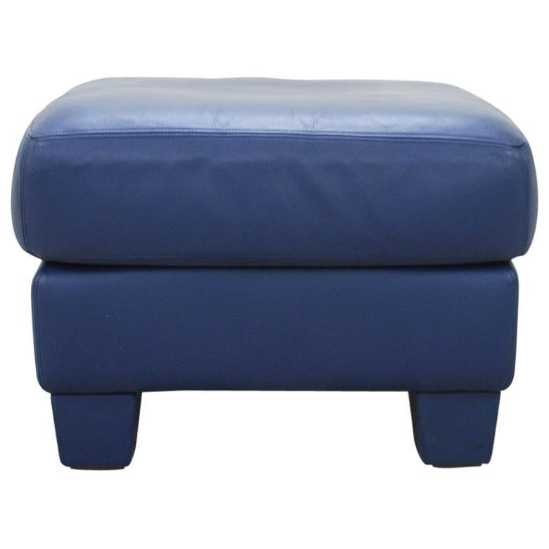 De Sede DS 17 Blue Leather Ottoman or Pouf