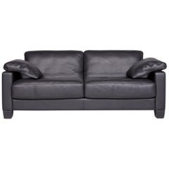 De Sede DS 17 Designer Leather Sofa Black Genuine Leather Two-Seat Couch