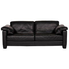 De Sede DS 17 Leather Sofa Black Two-Seat Couch