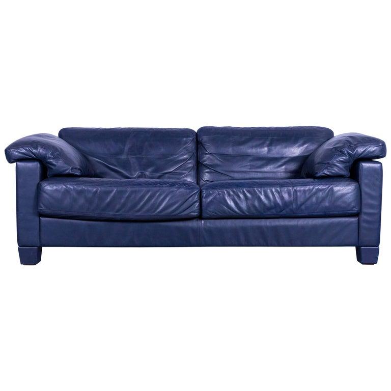 De Sede Ds 17 Ledersofa Blaues Dreisitzer Sofa Bei 1stdibs