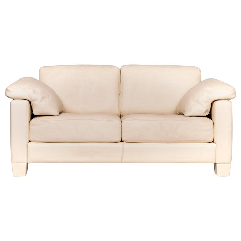 De Sede DS 17 Leather Sofa Cream Two-Seat Couch