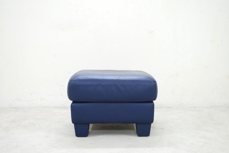 Modern De Sede DS 17 Pair of Blue Leather Ottoman or Pouf For Sale