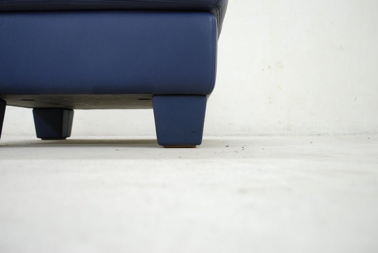 Late 20th Century De Sede DS 17 Pair of Blue Leather Ottoman or Pouf For Sale