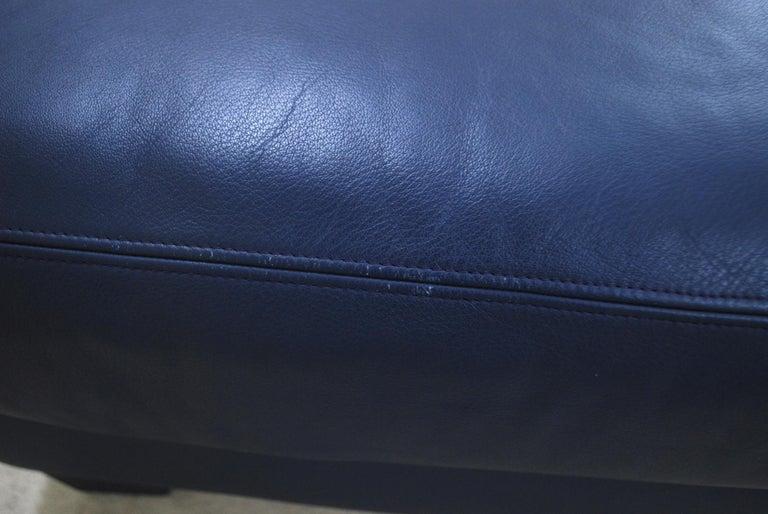 De Sede DS 17 Pair of Blue Leather Ottoman or Pouf For Sale 2