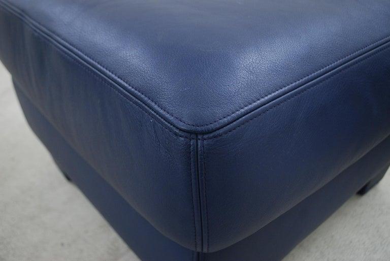 De Sede DS 17 Pair of Blue Leather Ottoman or Pouf For Sale 3