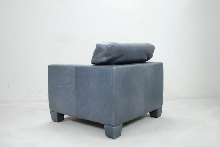 De Sede Ds 17 Pair of Grey Leather Lounge Chair Armchair For Sale 7