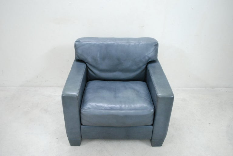Swiss De Sede Ds 17 Pair of Grey Leather Lounge Chair Armchair For Sale