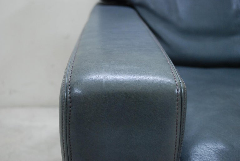 De Sede Ds 17 Pair of Grey Leather Lounge Chair Armchair In Good Condition For Sale In Munich, Bavaria