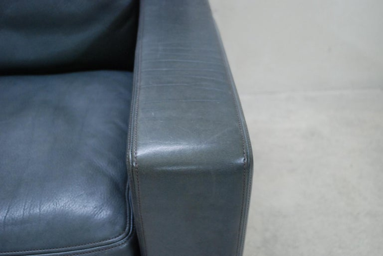 Late 20th Century De Sede Ds 17 Pair of Grey Leather Lounge Chair Armchair For Sale