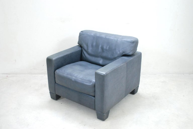 De Sede Ds 17 Pair of Grey Leather Lounge Chair Armchair For Sale 2