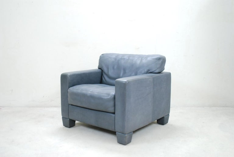 De Sede Ds 17 Pair of Grey Leather Lounge Chair Armchair For Sale 3
