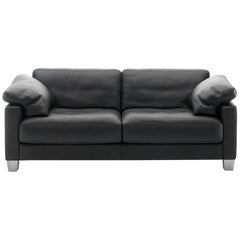 De Sede DS-17 Two-Seat Sofa in Black Upholstery by Antonella Scarpitta