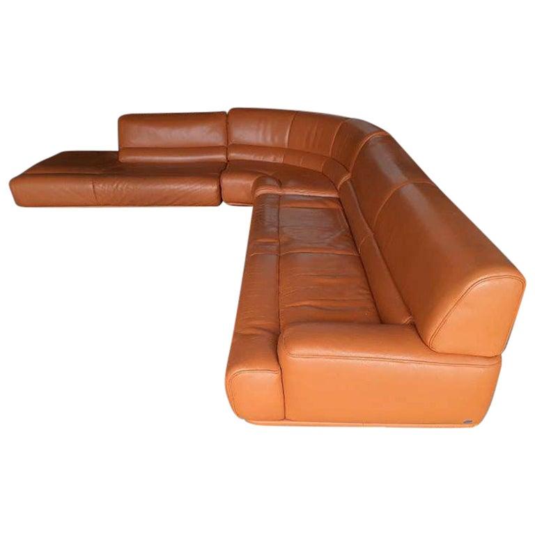 De Sede Ds 18 Vintage Patinated Cognac, Vintage Leather Sectional Sofa