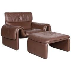 De Sede DS 2011 Designer Leather Armchair Brown Stool Genuine Leather