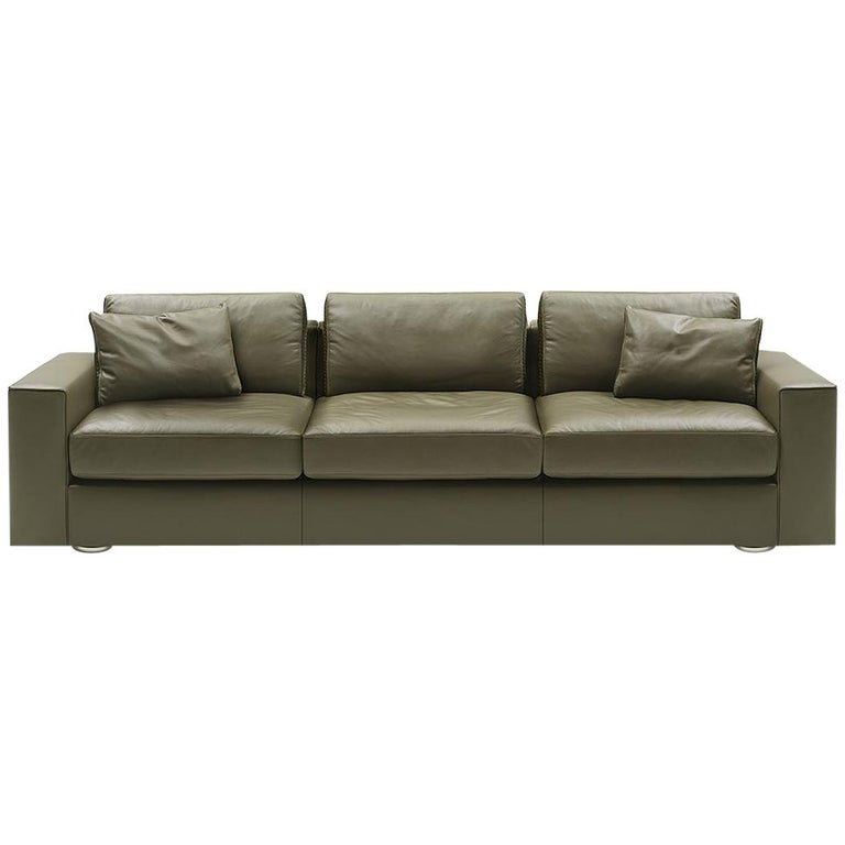 De Sede Ds-247 Three-Seat Sofa in Olive Upholstery by Gordon Guillaumier For Sale