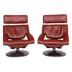 De Sede Ds 255 Leather Armchair Set Red Incl. Function