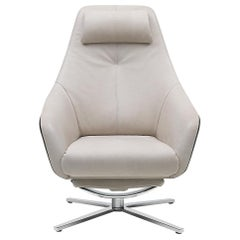 De Sede DS-277 Armchair with Footrest in Off White Upholstery, Christian Werner