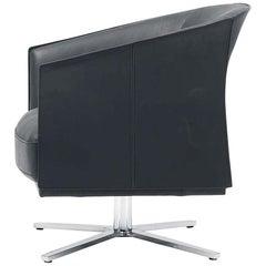 De Sede DS-291 Swivel Star Base Armchair in Black Leather by De Sede Design Team