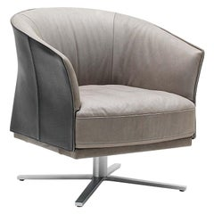 De Sede DS-291 Swivel Star Base Armchair in Taupe Leather by De Sede Design Team