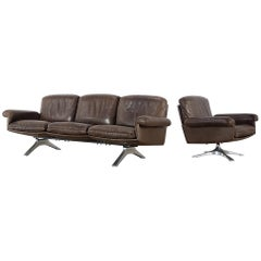 De Sede DS 31 Set of a Swivel Armchair and a Three-Seat Sofa from Switzerland