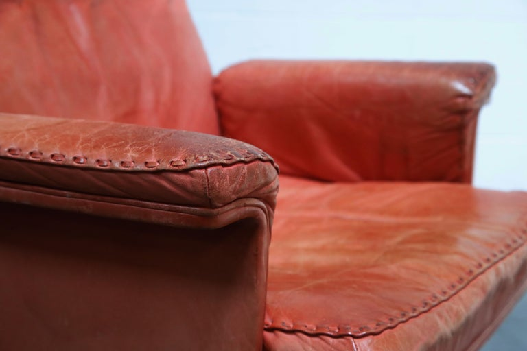 De Sede DS-35 Distressed Leather Executive Office Chair, Signed and Dated 1969 For Sale 11