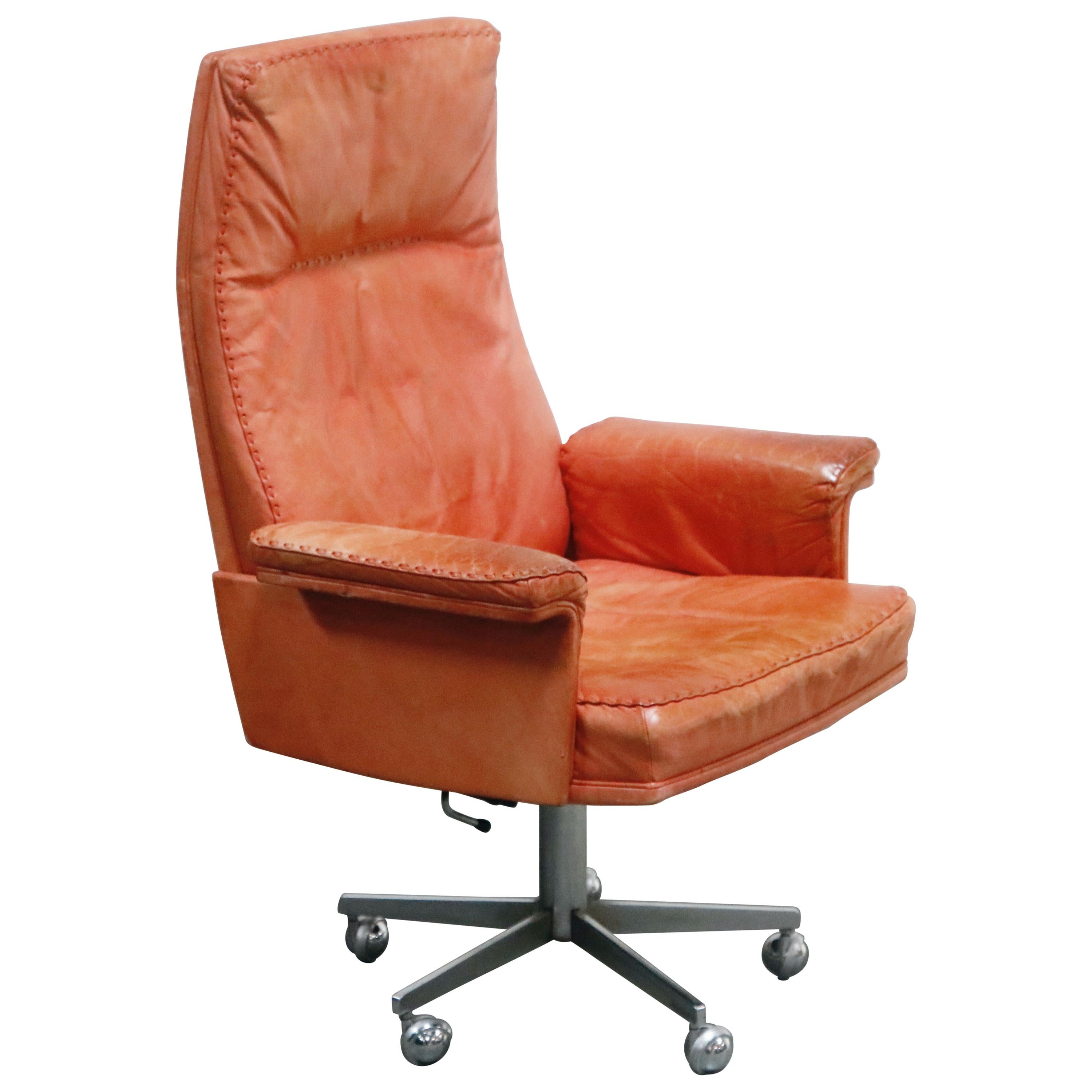 De Sede DS-35 Distressed Leather Executive Office Chair, Signed and Dated 1969