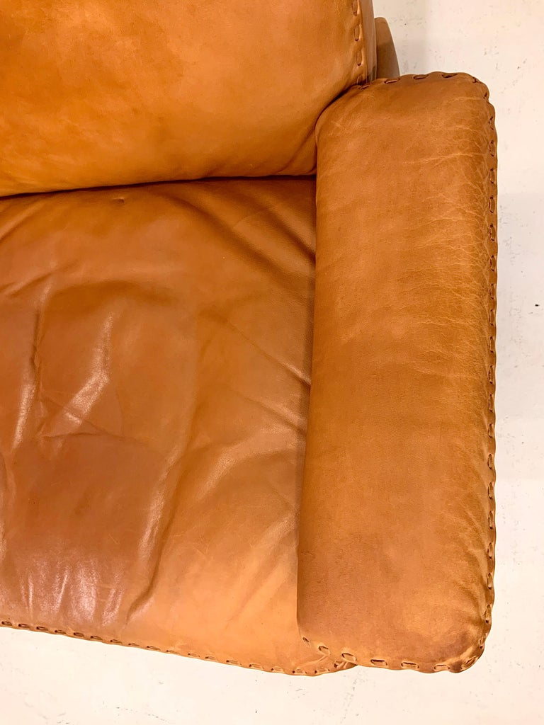 De Sede DS-35 Two-Seat Sofa Loveseat in Cognac Brown Leather, Switzerland, 1960s For Sale 5