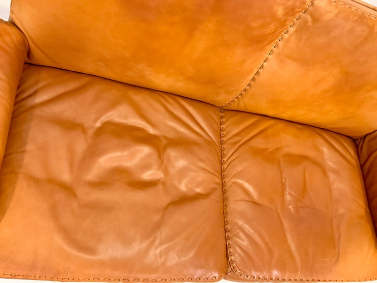 De Sede DS-35 Two-Seat Sofa Loveseat in Cognac Brown Leather, Switzerland, 1960s For Sale 8