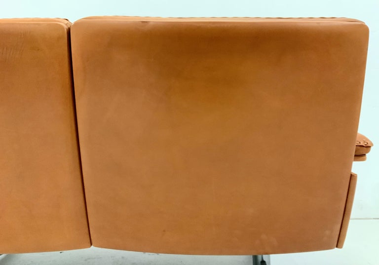 De Sede DS-35 Two-Seat Sofa Loveseat in Cognac Brown Leather, Switzerland, 1960s For Sale 10