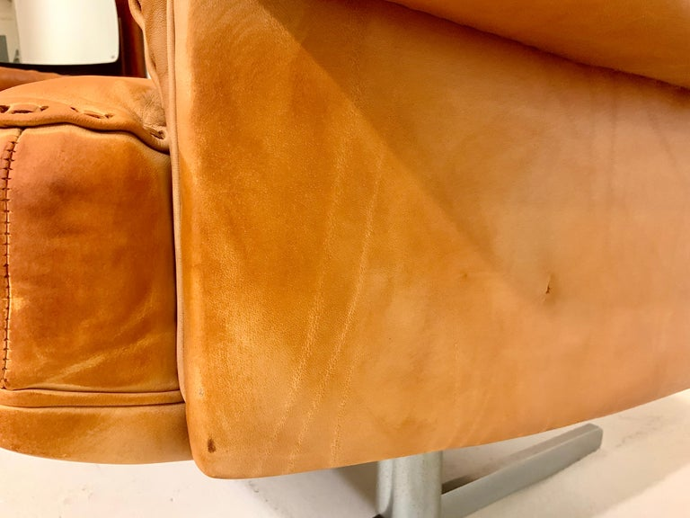De Sede DS-35 Two-Seat Sofa Loveseat in Cognac Brown Leather, Switzerland, 1960s For Sale 13