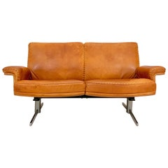 De Sede DS-35 Two-Seat Sofa Loveseat in Cognac Brown Leather, Switzerland, 1960s